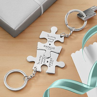 Missing Piece Puzzle Key Chain Set