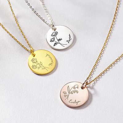 Birth Month Flower Charm Necklace
