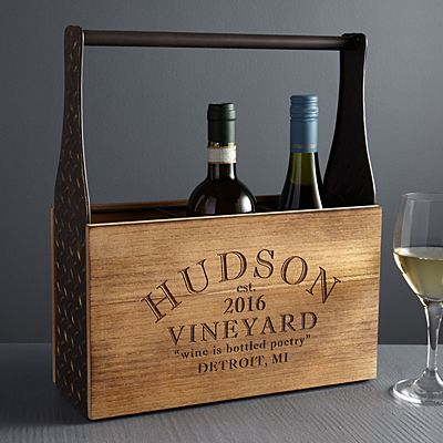 Modern Vineyard Wood Wine Carrier