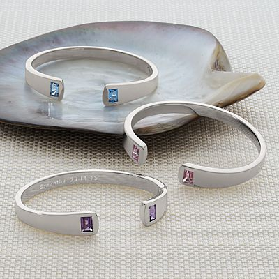 Sterling Birthstone Cuff